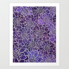 Dahlia Flower Pattern 3 Art Print
