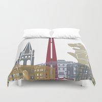 singapore Duvet Covers featuring Singapore skyline poster by Paulrommer