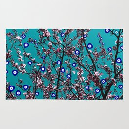 Cherry Blossoms Evil Eyes Rug