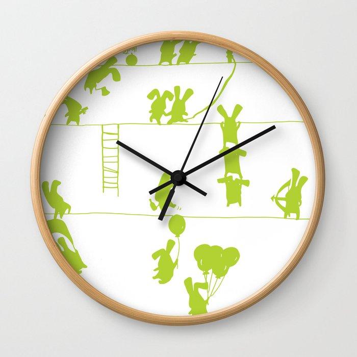 Green Bunnies Wall Clock