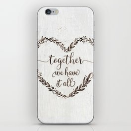 Love message in heart on old white wood texture iPhone Skin