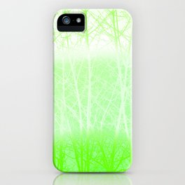 Frosted Winter Branches in Lime Green iPhone Case