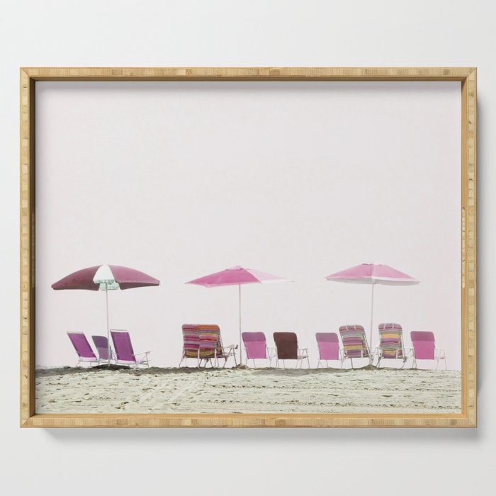 Pink and Plum Beach Umbrellas Serving Tray