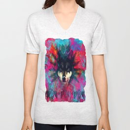 Wolf and the colors, colors, pink, blue, flower, feathers,  Unisex V-Neck