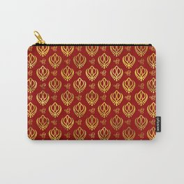 Khanda  and Ek Onkar pattern on red Carry-All Pouch