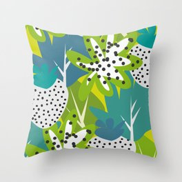 White strawberries and green leaves Throw Pillow