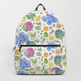 Winter Harvest Pattern White Backpack