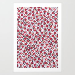 Ditsy Flora Red Art Print