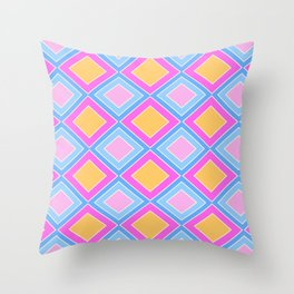 70's 80's squares plaid pattern light pink blue checkered Throw Pillow