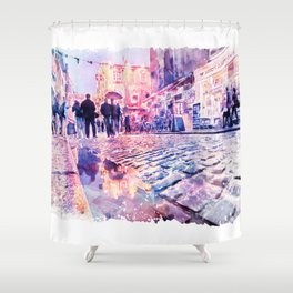 Dublin Watercolor Streetscape Shower Curtain