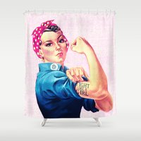 sayings Shower Curtains featuring Fight Like A Girl Rosie The Riveter Girly Mod Pink by Girly Road