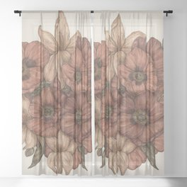 Poppies and Lilies Sheer Curtain