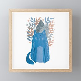 Cat and foliage - pastel blue and coral Framed Mini Art Print