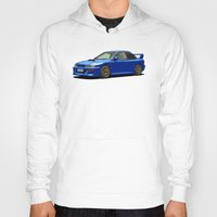 subaru Hoodies featuring Subaru Impreza 22B STI Type UK Sonic Blue by Digital Car Art