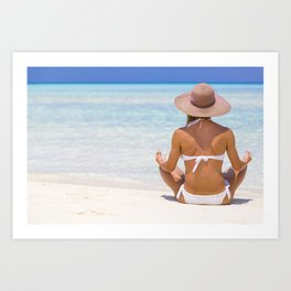 Young lady sitting on the shore in Maldives Art Print