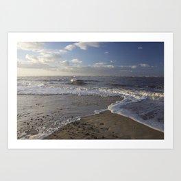 Wave Split on the Beach Art Print