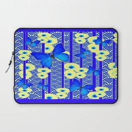 Blue Butterflies Cream-Blue Asia Style Modern Art Laptop Sleeve