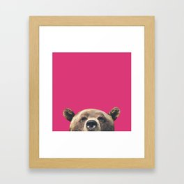 Bear - Pink Framed Art Print