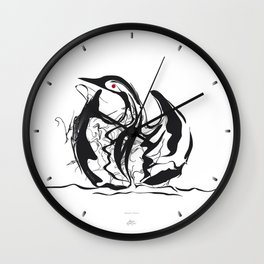 Swan-1. Black on white background-(Red eyes series) Wall Clock