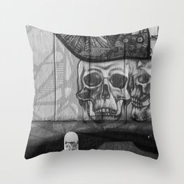 Skulls and Skating (Black and White) Throw Pillow
