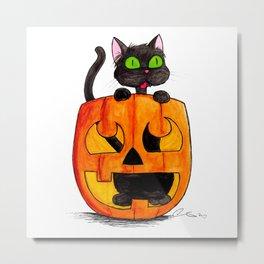 If I Fits I Sits: Halloween Pumpkin Cat Metal Print