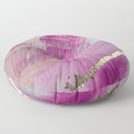 Starburst: a colorful, minimal abstract mixed-media piece in pinks and gold by Alyssa Hamilton Art Floor Pillow