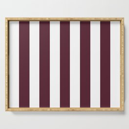 Light chocolate cosmos purple - solid color - white vertical lines pattern Serving Tray
