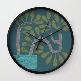 Potted Succulent on Blue Wall Clock