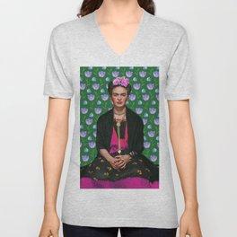 Flowers Frida Kahlo I Unisex V-Neck