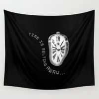 salvador dali Wall Tapestries featuring Salvador Dali Inspired Melting Clock. Time is melting away. by va103