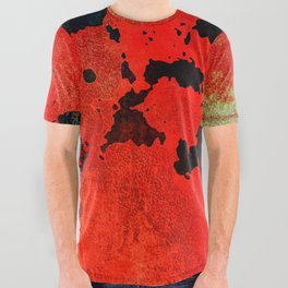 Red Modern Contemporary Abstract Textured Design All Over Graphic Tee