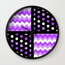 Black/Two-Tone Ultraviolet/White Chevron/Polka-dot Wall Clock