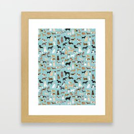 Dogs pattern print must have gifts for dog person mint dog breeds Framed Art Print