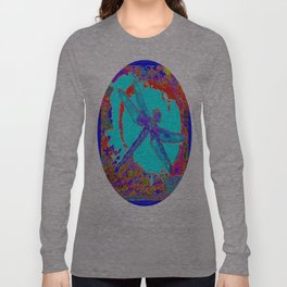 Tropical Blue Lagoon Dragonfly Abstract Long Sleeve T-shirt
