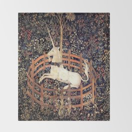 The Unicorn in Captivity Throw Blanket