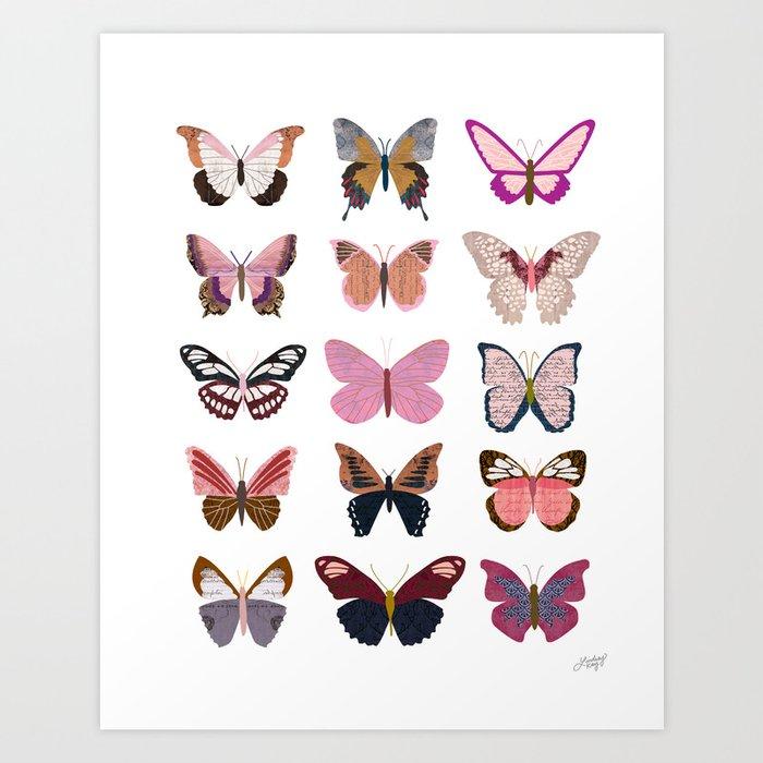 Pink Butterflies Art Print by lindseykaynichols | Society6