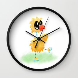 Little Cartoon Chicken Chick With Stripy Feet Wall Clock