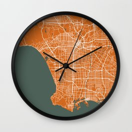Los Angeles Map | California | United States | Orange | More Colors, Review My Collections Art Print Wall Clock