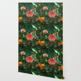 Flowers in Juicy Citrus Colors Wallpaper