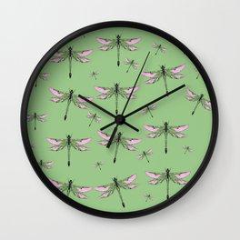 Rose Wing Swamp Dragonflies Green Jade Color Art design Wall Clock