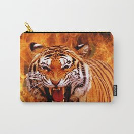 Tiger and Flame Carry-All Pouch