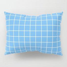 Blue jeans - heavenly color -  White Lines Grid Pattern Pillow Sham
