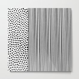 Black and White Dots and Stripes Metal Print