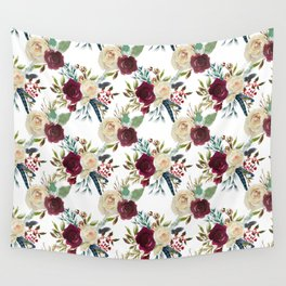 Burgundy ivory green watercolor boho floral pattern Wall Tapestry