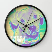kobe Wall Clocks featuring Happiness: Pitbull (Dog)  by PupKat