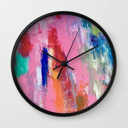 Lucky #13, a contemporary abstract in pinks and fuchsias Wall Clock