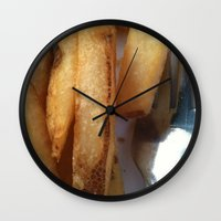 fries Wall Clocks featuring Fries by Wild World Of Food