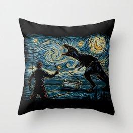 Jurassic Night Throw Pillow