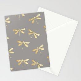 dragonfly pattern: gold & grey Stationery Cards