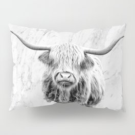 Highland Cow on Marble Black and White Pillow Sham